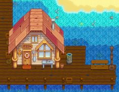 Stardew Valley fishing shop and pier.