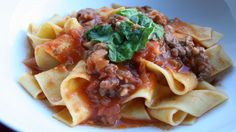 Sausage Ragu with Pappardelle. Incredible recipe the whole family liked. Easy to make substitutions and quick to cook.