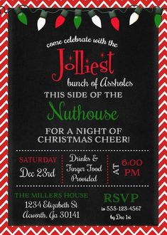 Jolliest Bunch Griswold Christmas Invitation - Sugar and Spice Invitations Christmas Pajama Party, Tacky Christmas Party, Christmas Vacation, Xmas Party, Christmas Holidays, Grinch Christmas, Christmas Games, Christmas Party Theme Names, Christmas Party Themes For Adults
