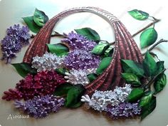 Quilled basket of lilac flowers
