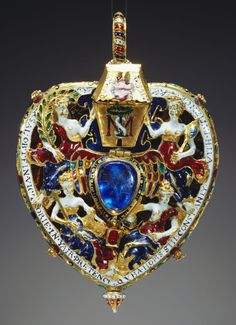 The Darnley or Lennox Jewel. gold, enamel, Burmese rubies, Indian emerald and cobalt blue glass, circa 1571-1578