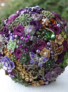 Purple Green and Gold Amber Wedding Brooch by annasinclair on Etsy
