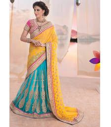 Buy Yellow and sky blue embroidered georgette lehenga saree with blouse lehenga-saree online