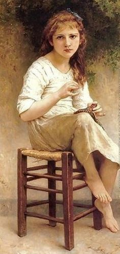 William-Adolphe Bouguereau (French Academic painter, 1825-1905) 'Young Girl Sewing'