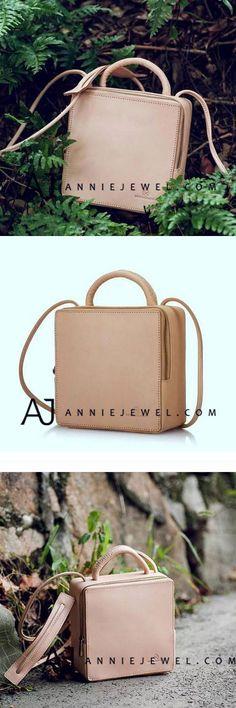 GENUINE LEATHER HANDBAG VINTAGE HANDMADE CUBE SHOULDER BAG CROSSBODY BAG PURSE FOR WOMEN