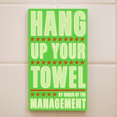 Kids Room Art - Hang Up Your Towel By Order of the Management Word Art Block - 4 in x 7 in Kids Wall Art - Bathroom Wall Art. $18.00, via Etsy.