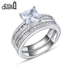 Effie Queen Woman Finger Ring Platinum Plated with 0.8 ct Princess Cut Cubic Zirconia Women Wedding Ring Set, 2 Piece/Set DR28