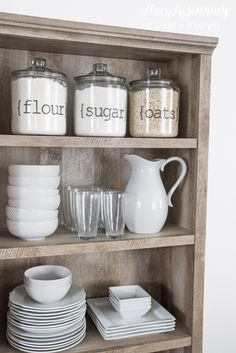 use a bookcase as a pantry or a hutch