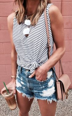 #Summer #Outfits / Striped Top + Denim Short Shorts