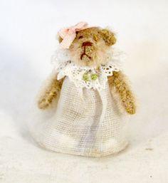 PAULETTE SVEC TINY  JOINTED TAN GIRL TEDDY BEAR  IN DRESS