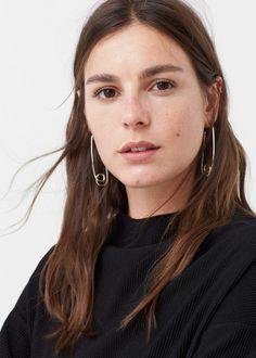 Metallic clips earrings   MANGO