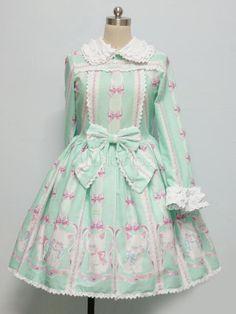 Sweet Light Green Floral Print Cotton Long Sleeves Lolita Dress - Milanoo.com