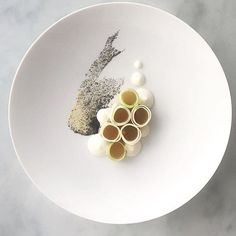 Smoked Hock Jelly, Granny Smith Apple, Sweet Miso, Raw Cabbage, Onion and Sour Cream Purée, Onion Ash by @theprivatepass ・