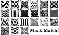 This listing is for ONE modern black and white pillow cover! This throw pillow cover can be made to fit any size pillow insert from a lumbar