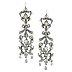 Pair of Georgian Silver, Gold and Diamond Pendant-Earrings   Ap. 12 dwt.