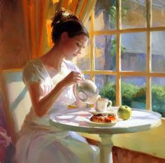 """Hour of Tea"" by Vladimir Volegov, painting, cm, oil on canvas Art And Illustration, Vladimir Volegov, Tee Kunst, Tea Art, Fine Art, My Tea, Beautiful Paintings, Oeuvre D'art, Painting & Drawing"
