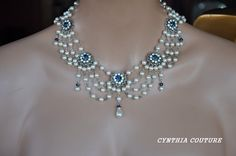 Bridal Pearl Necklace,Vintage Style Necklace,Swarovski Crystal MONTANA BLUE and Pearl Necklace,Wedding Necklace,Victorian Style,swag,NATASHA