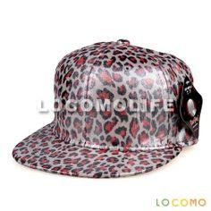 PU Leather Leopard Pattern Print Snapback Baseball Cap Blue Red