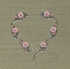 Jo Butcher, Embroidery Artist - Rose & Lily of the Valley Heart Bullion Embroidery, Embroidery Hearts, Hand Embroidery Stitches, Silk Ribbon Embroidery, Cross Stitch Embroidery, Embroidery Needles, Embroidery Designs, Hand Embroidery Tutorial, Brazilian Embroidery
