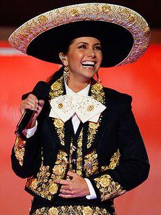 """Lucero,  """"La Novia de America"""". Actriz, cantante y presentadora Mexicana, portando el traje de charra."""