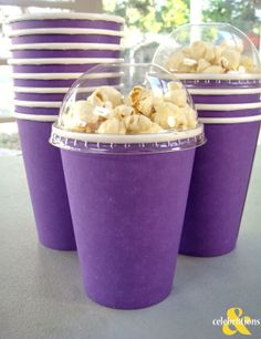Paper Popcorn Boxes with Dome lids- Purple Set of 8