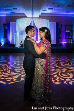 The Indian wedding reception palette is brilliant purple and gold. Indian Wedding Fashion, Wedding Lighting, Masquerade, Wedding Styles, All Things, Wedding Reception, Atlanta, Sari, Weddings