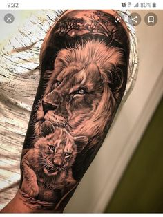 Lion tattoos hold different meanings. Lions are known to be proud and courageous creatures. So if you feel that you carry those same qualities in you, a lion tattoo would be an excellent match Lion Cub Tattoo, Cubs Tattoo, Lion Head Tattoos, Mens Lion Tattoo, Lion Tattoo Design, Leo Tattoos, Tattoo Designs Men, Lion Tattoos For Men, Grace Tattoos