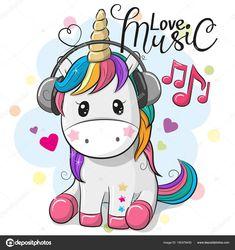 Cute Cartoon Unicorn with headphones on a blue background Cute magical unicorn is dreaming. Vector design…Little pink magical unicorn. Vector design on vecteur de dessin animé mignon de licorne. Black and White Illustration, Printable… Unicorn Drawing, Cartoon Unicorn, Unicorn Art, Cartoon Cow, Baby Unicorn, Cute Backgrounds, Cute Wallpapers, Baby Poster, Unicornios Wallpaper