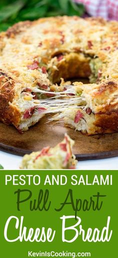 My Pull Apart Cheese Bread uses refrigerated pizza dough that gets tossed with fresh pesto, mozzarella, pine nuts & chopped salami for one perfect appetizer! Yummy Appetizers, Appetizer Recipes, Snack Recipes, Dessert Recipes, Snacks, Party Recipes, Pull Apart Cheese Bread, Savory Bread Recipe, Pesto Bread