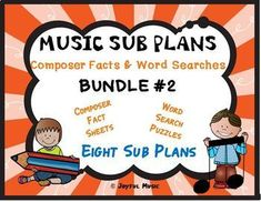 *** $5.00 ***This product is great for DISTANCE LEARNING as well as the elementary Music classroom!Overview: This product includes eight easy Music Sub Plans for 2nd - 6th. Each lesson is built around students learning some facts about a composer. Each includes a word search puzzle using words from ...