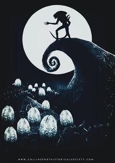 Xenomorph (The Nightmare Before Christmas) Alien Vs Predator, Predator Alien, Arte Alien, Alien Art, Alien Pics, Scary Alien, Xenomorph, King Kong, Horror Art