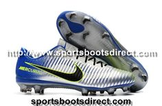 Welcome to purchase our Nike Mercurial Vapor XI Neymar FG Football Boots - Silver/White/Blue/Volt online store,we offer good quality and best service,global fashion sale. Neymar Football Boots, Boots 2017, Nike Vapor, Fashion Sale, Cleats, Silver, Blue, Men, Soccer