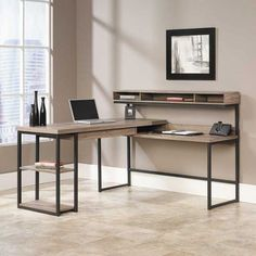 Enhance the look of your home office with the Sauder 414417 L Desk. This L desk is constructed from steel and wood that ensures durability. This L-desk com Home Office Desks, Home Office Furniture, Furniture Design, Furniture Ideas, Design Desk, Office Lounge, Office Spaces, Beach Office, Study Design