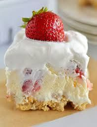 * Strawberry Cheesecake Lush * •1 package Golden Oreos (crushed) •6 tablespoons butter, melted •8 oz pkg cream cheese •1 cup powdered sugar •1 container Cool Whip, divided •2 pkgs instant cheesecake pudding mix •3 cups milk •3½ cups sliced strawberries See full Instructions here: http://www.budget101.com/showthread.php?t=740305&p=834195#post834195