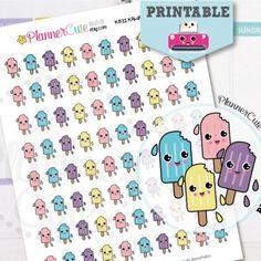 Popsicle Stickers,  Printable Kawaii Summer Popsicle, Planner Stickers,  Cute Icecream, Erin Condren, K032
