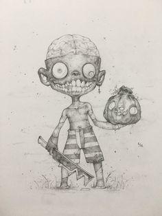Drawlloween Day 1 - Return from the Dead by on DeviantArt Sweet Drawings, Cool Art Drawings, Art Sketches, Graffiti Doodles, Graffiti Drawing, Arte Horror, Horror Art, Jason Voorhees Drawing, Ink Pen Art