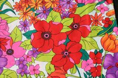 Vintage 70s Retro Floral Polyester Fabric Mod by binguspingusart
