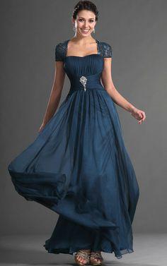 Etui Elegantes Brautmutterkleid/ Partykleid mit Kristall Blumenbrosche mit tiefer Taille