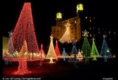Christmas illuminations in front of the Arlington Hotel. Hot Springs, Arkansas, USA (color)