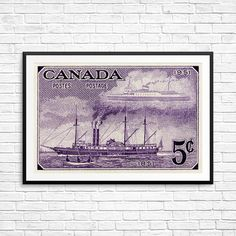 City of Toronto steam ship sailing ship Toronto by CanadaStampArt Timbre Canada, Canada Wall, Poster Size Prints, Art Prints, Sailboat Art, Historical Art, Canadian Artists, Pigment Ink, Steamer