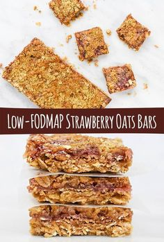 Low fodmap & gluten free recipe - Vegan - Strawberry (Raspberry) Oat Bar recipe is so easy, and you can make extra low-FODMAP Strawberry Coulis to enjoy on your other baked products, ice cream or yogurt! Fodmap Dessert Recipe, Fodmap Recipes, Baking Recipes, Snack Recipes, Dessert Recipes, Desserts, Potato Recipes, Free Recipes, Budget Recipes