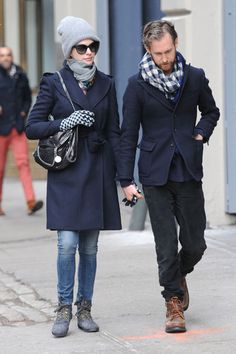 (Mar. 2013) Anne Hathaway with husband Adam Schulman, out and about in NYC.