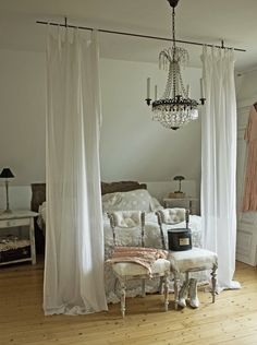 This is so beautiful, this inspires me more than the other one. Curtain rod above bed bedroom decor idea.