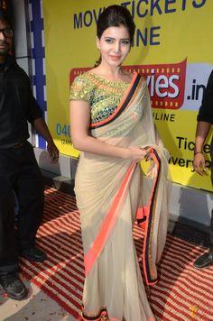 Samantha Ruth Prabhu Net Cream Bollywood Style Saree - at Rs 3257 Blouse Designs Catalogue, Sari Blouse Designs, Fancy Sarees, Party Wear Sarees, South Indian Actress, Beautiful Indian Actress, Beautiful Saree, Samantha In Saree, Samantha Ruth