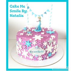 Frozen Elsa purple white chocolate cake with handmade fondant snowflakes and a handmade bunting topper. By Natalie Baxter. Cake Me Smile By Natalie https://m.facebook.com/Cake-Me-Smile-by-Natalie-965591876858656/