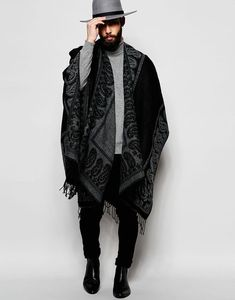 ASOS Black Cape With Grey Paisley Border i can totally wear this there is no reason i can't rock this men's cape is part of Jeans outfit men - Fashion Mode, Look Fashion, Winter Fashion, Mens Fashion, Fashion Trends, Fashion Black, Black Jeans Outfit, Black Ripped Jeans, Mens Cape