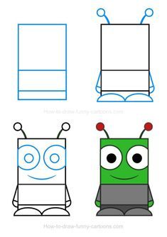 How to draw an alien Drawing Lessons For Kids, Drawing Tutorials For Kids, Art Drawings For Kids, Doodle Drawings, Doodle Art, Art For Kids, Easy Dragon Drawings, Cute Easy Drawings, Square Drawing