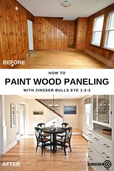 goodbye to knotty pine wood paneling and give your room a fresh new start. Zinsser Bulls Eye Primer is the perfect start for your wood paneling living room makeover, like this one from SoPo Cottage. This water-based primer sticks to all surfac Painting Wood Paneling, Updating House, Wood Paneling Living Room, Home Remodeling, Room Remodeling, Home Renovation, Knotty Pine Paneling, Paneling Makeover, Living Room Wood