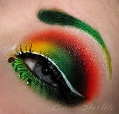 Robin! Superhero makeup.    I could see this for Robin or Poison Ivy