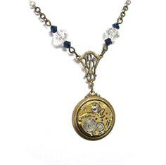Steampunk Necklace With Stunning Jeweled Watch by MizzMechanique, $99.00 #steampunk #gothic #victorian #bat #bikerchic #altfashion #rockerchic #rocknroll